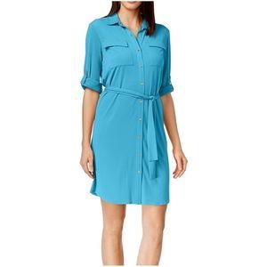 Calvin Klein Teal Blue Collared Shirt Dress M
